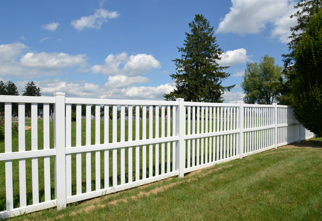 Beautiful custom vinyl fence for home, yard. Durable, no rot, no decay