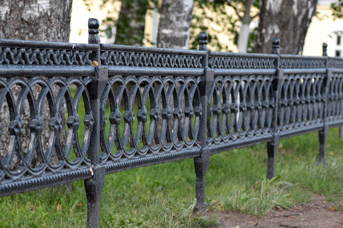 Wrought iron black fence heavy duty durable